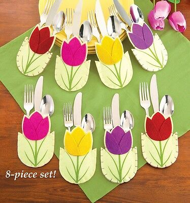 "Set 8 Easter Decor Tulip Flower Floral Silverware Holder Polyester 6""H NEW B7874"