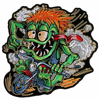 MONSTER Funny Embroidered Motorcycle Biker MC Large 10 x 10 BACK Patch LRG-0562