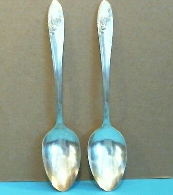 Queen Bess Silverplate Oval Soup Spoons Lot of Two (2) Oneida Tudor Plate 1946