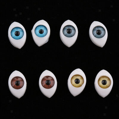 4 Color 8pcs 6mm Oval Hollow flat and hollow back Plastic Eyes For DIY Doll Mask