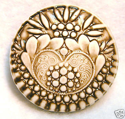 Handcrafted Art Stone Button Victorian Pattern Sepia FREE US SHIPPING