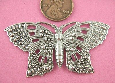 VINTAGE DESIGN ANTIQUE SILVER BEADED BUTTERFLY-1 PC(s)