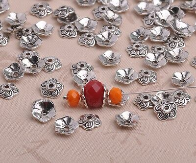 100pcs 8mm Tibetan Silver Flower Bead Caps Charm Spacer Beads Jewelry Findings