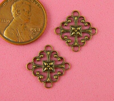 VINTAGE DESIGN ANT BRASS  BEADED 4 RING CONNECTOR - 2 PC(s)