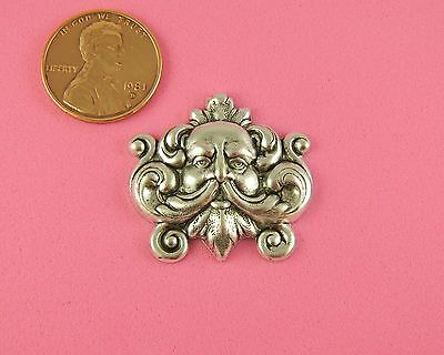 ANTIQUE SILVER PLATED BRASS SMALL GREENMAN DESIGN - 1 PC(s)