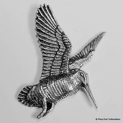 Flying Woodcock Pewter Pin Brooch - British Hand Crafted - Shooting Game Bird