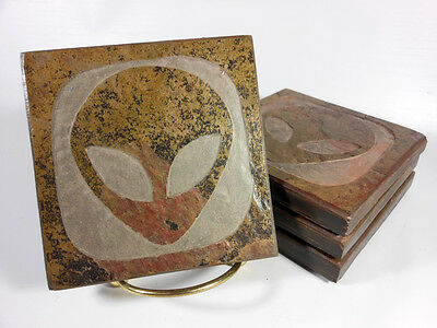 ALIEN COASTER SET Artist Carved Stone - UFO Space Geek Science Fiction Gift