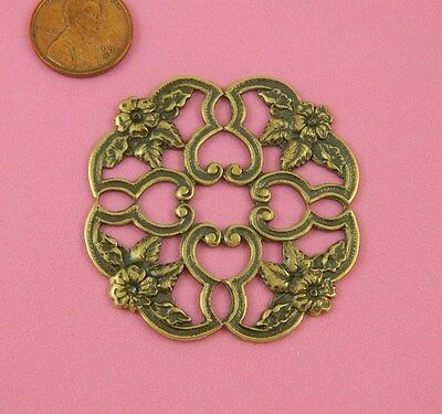 VINTAGE DESIGN ANT BRASS ROCOCCO STYLE FLORAL FILIGREE - 1 PC(s)