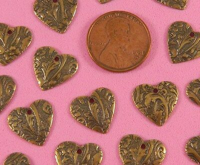 VINTAGE DESIGN ANT BRASS FLORAL DAPT HEARTS - 6 PC(s)