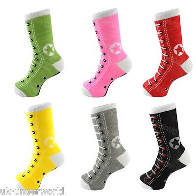 6 Pairs Girls Boys Silly Sneaker Design Novelty Cotton Socks Childrens Adults