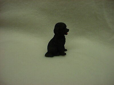 BLACK COCKAPOO puppy TiNY DOG Figurine HAND PAINTED MINIATURE Collectible Statue