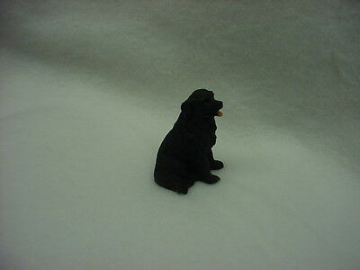 NEWFOUNDLAND black puppy TiNY DOG Figurine HAND PAINTED MINIATURE NEWFIE Statue