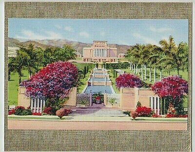 "MORMON TEMPLE LAIE N. OAHU HAND COLORED GICLEE PHOTOGRAPH 1920's? ON 8X10"" MAT"