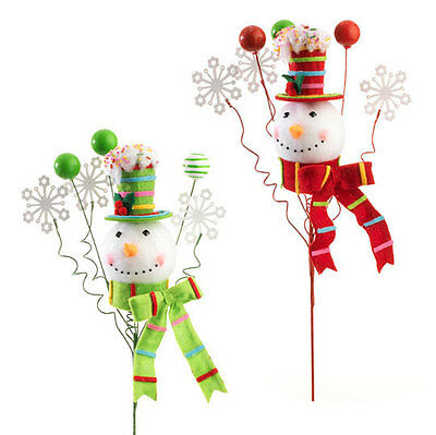"RAZ Imports 21"" Snowman Head Sprays Set/2 Red Green Candy Sprinkles NEW!"