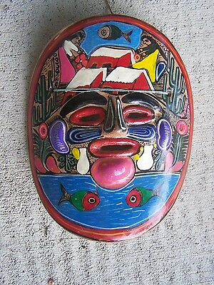 1960s Clay Mask - Painted Village Scene with Fish - Mexico