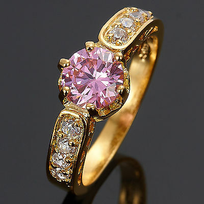 7Mm Pink Sapphire Topaz 18K Yellow Gold Plated Round Cut Ring Size 6