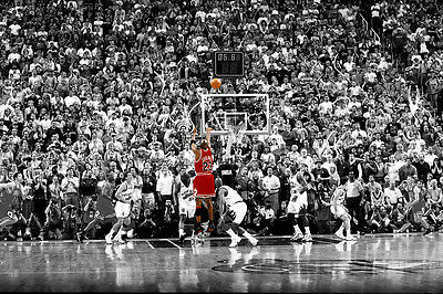 "Michael Jordan Utah last shot Basketball Star Fabric poster 17"" x 13"" Decor 78"