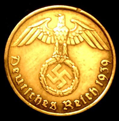 German 3rd Reich 5 Rp Coin w/ Swastika - Nazi Germany WW 2 - Rare Coin