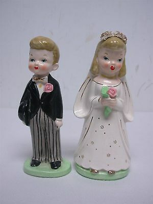 Vintage Napco Bride & Groom Cake Topper Figurines 5 1/2""