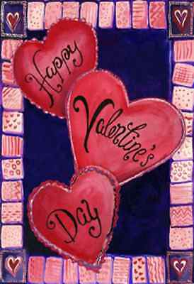 """3 Hearts For Valentine's Day House Flag Love Heart Decorative  Banner  28"""" x 40"""""""