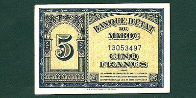 Morocco Five Francs P24 Xf 1943 Printed By E. A, Wright In Phil, Usa Star On Rev