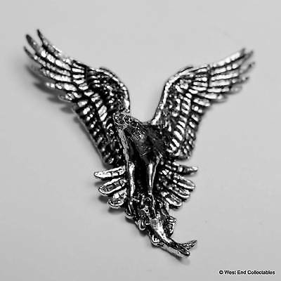 Osprey with Trout Pewter Pin Brooch -British Hand Crafted- Falconry Hunting Bird