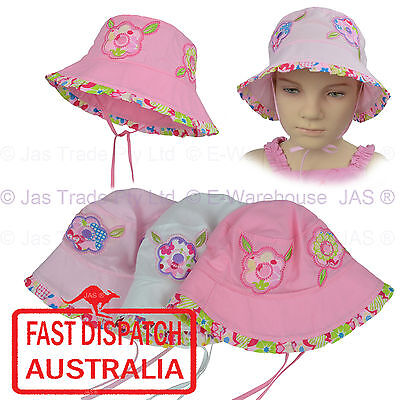 Girl Kids Toddler Baby Cotton Floral Flower Bucket Sun Hat Adjustable Chin Strap
