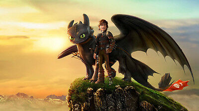 "How to Train Your Dragon 1 2 Movie Fabric poster 24"" x13"" Decor 11"