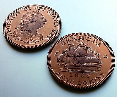 1808 Bermuda  Retro Pattern Proof Crown Pure Copper George III  Coin