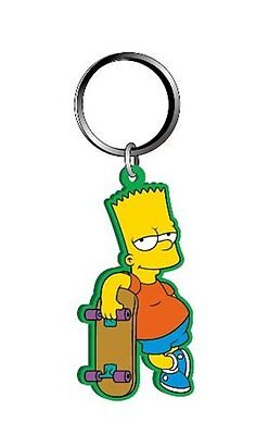 The Simpsons Bart Simpson With Skateboard PVC Figural Soft Keychain, NEW UNUSED
