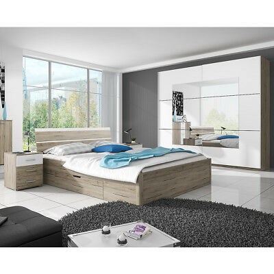 schlafzimmer komplett 4 tlg schrank bett nakos massivholz eiche massiv ninove eur. Black Bedroom Furniture Sets. Home Design Ideas