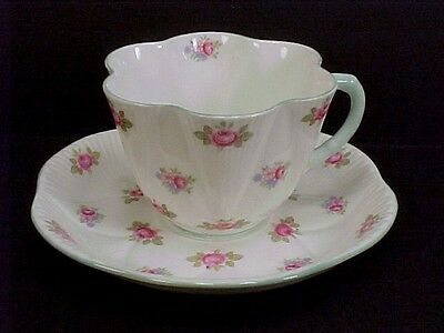 Shelley ROSE BUD  Fluted Cup & Saucer Set