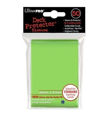 Ultra Pro 50 Standard Deck Protector Sleeves Lime Green 84099