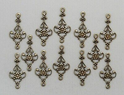 #1505 ANTIQUED GOLD OPEN FILIGREE 2 RING CONNECTOR - 12 Pc Lot