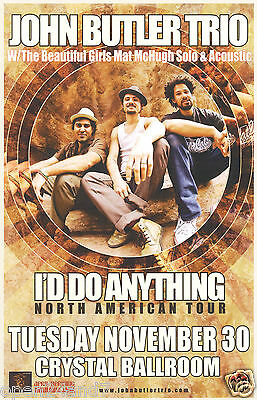 "John Butler Trio 2011 ""i'd Do Anything N. American Tour"" Portland Concert Poster"