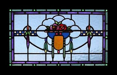 Rare Bevelled Art Nouveau Floral English Antique Stained Glass Window