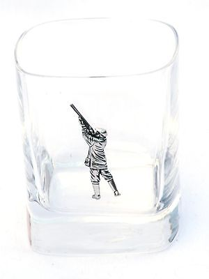Shooter Pair of Crystal Tumblers Pewter Motift Presentation Box Shooting Gift