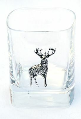 Stag  Pair of Crystal Tumblers Pewter Motift Presentation Box Huntring Gift