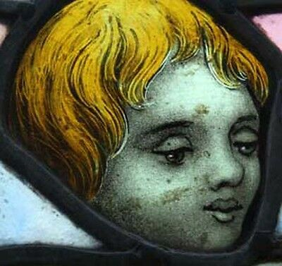 Amazing Painted Putto Cherub Angel English Antique Stained Glass Roundel