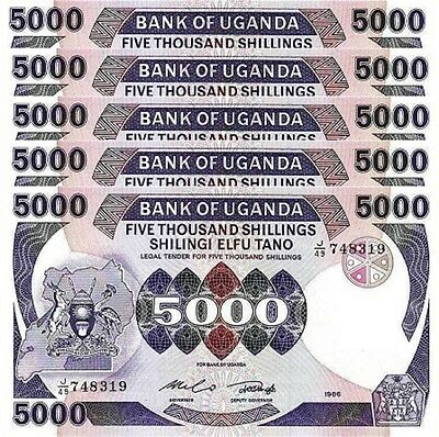 Uganda 5000 5,000 Shillings 1986 Unc 5 Pcs Consecutive Lot P 24B