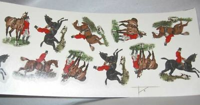 """Ceramic Decal Herring FOXHUNT Single Horse & Rider 2"""" Shaped 12 Decals"""