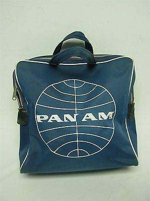 Vintage Blue Pan Am Pan American Airlines Zippered Carry On Bag