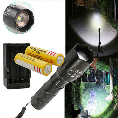 Cree XML T6 2500LM LED Focus Flashlight Zoom Torch Lamp+ 2Pcs 18650 + US Charger
