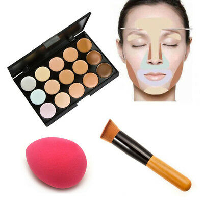 Pro 15 Colors Contour Face Cream Makeup Concealer Palette + Oblique Head  Brush