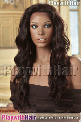 Thick Full Flowing Lace Front Wig Brown Auburn Mix - Heat Friendly!