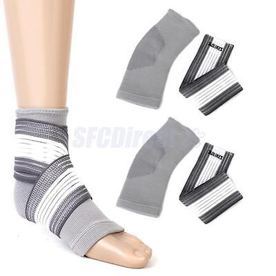 Pair Footful Ankle Foot Elastic Compression Wrap Sleeve & Bandage Brace Support