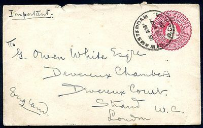BRITISH GUIANA TO GREAT BRITAIN, NEW AMSTERDAM Cancel on Postal Stationery, 1912