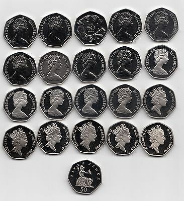 UK Fifty Pence Coins 50p 1971 to 1999 Choose your Year - Proof