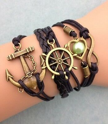 NEW Infinity Anchor Heart Round Leather Charm Bracelet plated Copper DIY