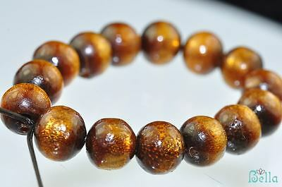 15 Pieces 7mm Sea Gems ~GOLDEN CORAL Round Beads Pendants B0437